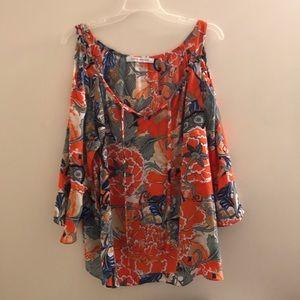 Orange Floral cold-Shoulder Shirt